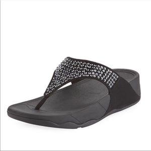 Fitflop Black Glitzie Embellished Slide Sandals